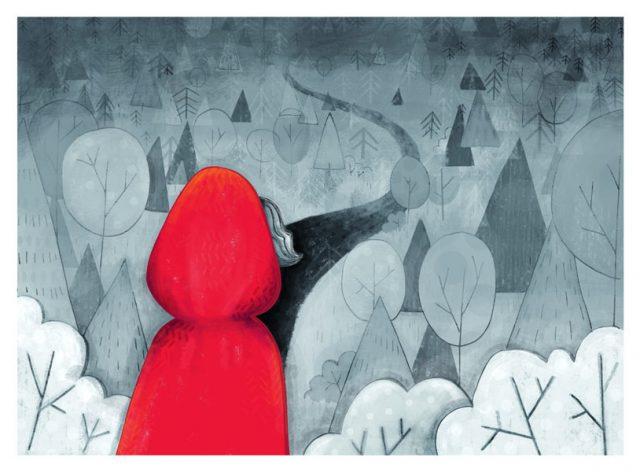 Kapturek idzie przez las