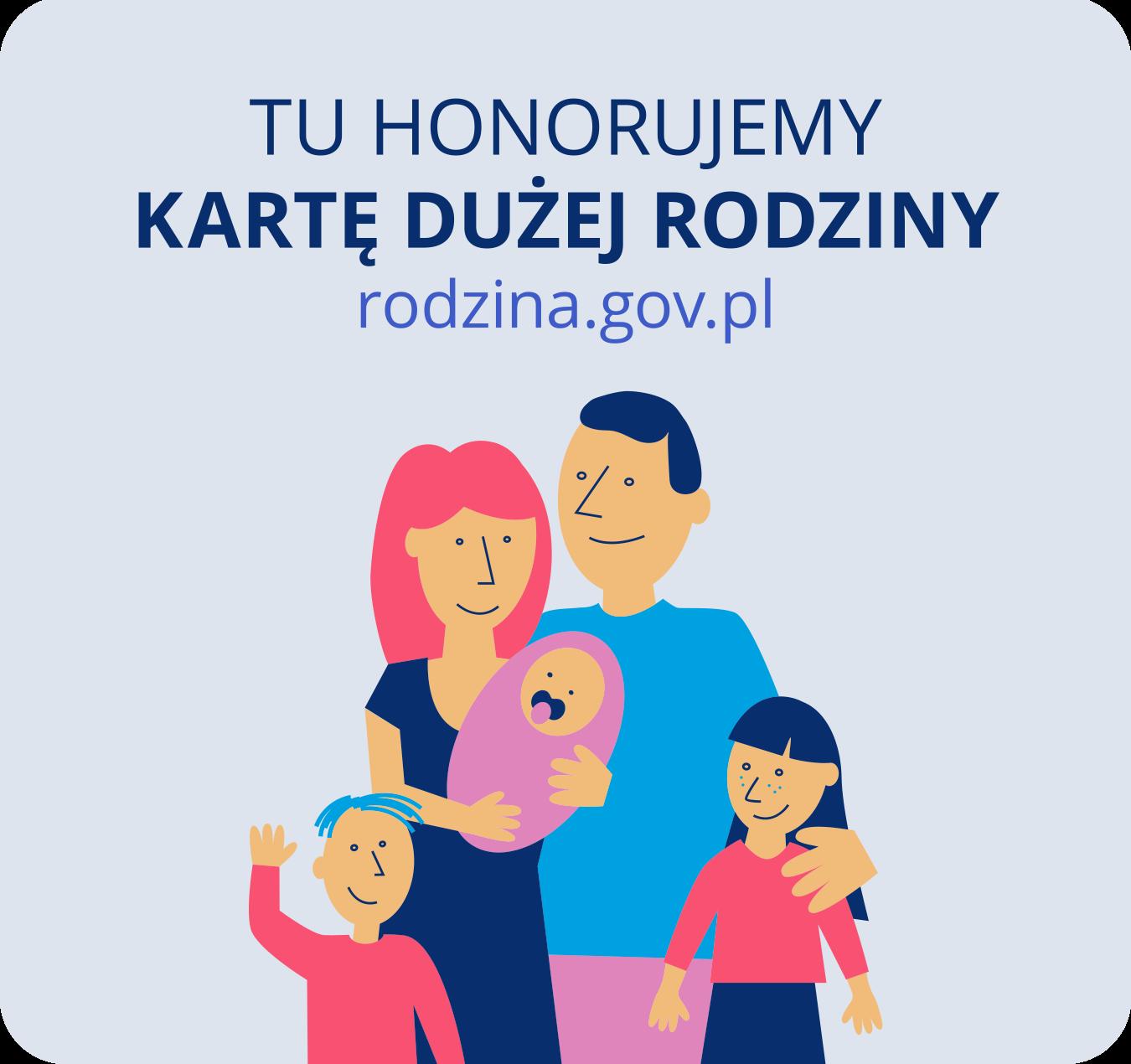 poster - grafika programu karta dużej rodziny, uprawnia do rabatu