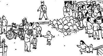 grafika plenerowy spektakl kamishibai w Japonii początek 20 wieku