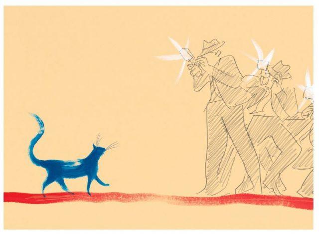 ilustracja z książki kotka milusia, pozuje błekitny kot fotografom