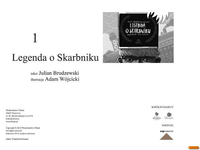 """strona tytułowa książka """"Legenda o Skarbniku"""""""